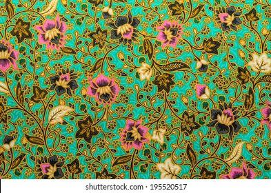 Colorful fabric pattern batik cloth