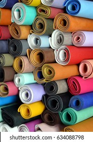 colorful fabric rolls