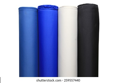 Colorful fabric rolls - isolated on white background