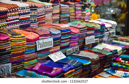 Colorful fabric in fabric shop in local market.