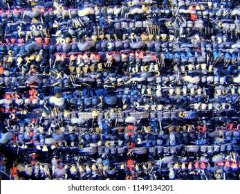 Colorful fabric tweed texture, background. Closeup horizontal fragment