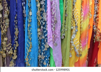 Colorful fabrics for belly dancing
