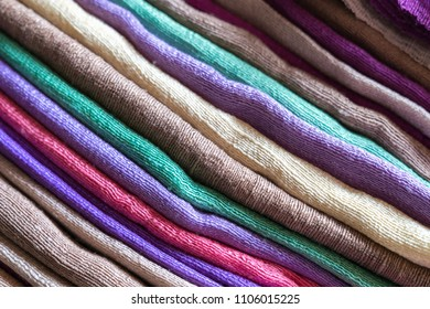 Colorful fabrics made of pure natural silk