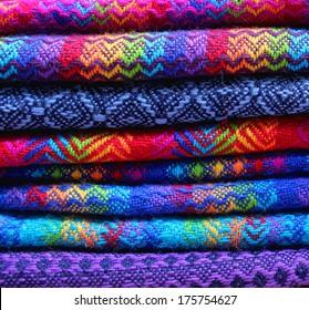 Colorful fabrics in Peru