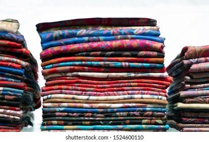 Colorful fabrics in a store dubai