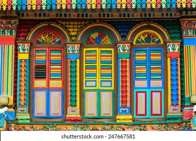 Colorful facade of the building in Little India, Singapore
