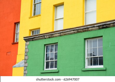 colorful facade close up