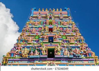 Colorful  facade of a Hindu temple in Victoria, Mahe, Seychelles, also known as ARUL MIHU NAVASAKTHI VINAYAGAR