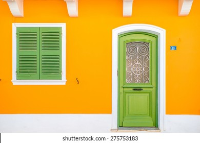 Colorful facade of a house in Levkkas city in Greece