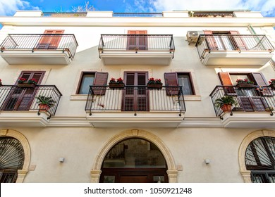Colorful facade of Italian style old house