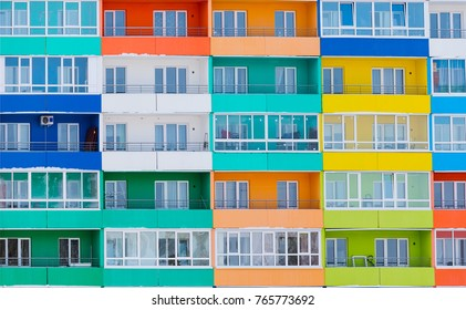 Colorful facade of modern building. Apartment house