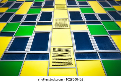 Colorful facade of modern building as background