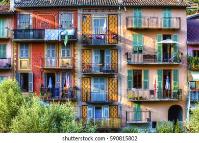 Colorful Facades with Balconies in Sospel, Provence, France