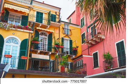 Colorful facades of famous resort  Alassio (province of Savona) on the Italian Riviera in Western Liguria, Italy