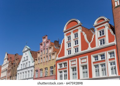 Colorful facades in the historic center of Luneburg, Germany