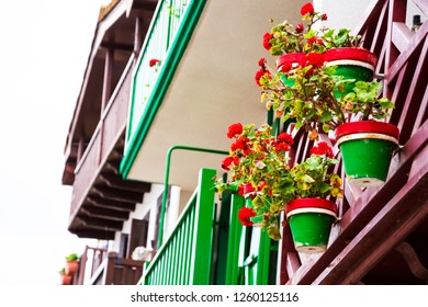 Colorful facades of Hondarribia (Spain). Balconies decorated with  flower pots. Retro style vacation concept background. Selective focus.