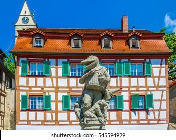 Colorful facades of houses in the german city meersburg
