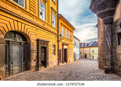 Colorful facades of houses in the historic center of Kutna Hora in the Czech Republic, Europe.
