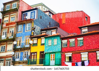 Colorful facades with traditional portuguese glazed tile in Old town of Porto, Portugal.