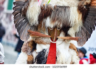 Colorful face of Kurent, Slovenian traditional mask Traditional mask used in februar for winter persecution, carnival time, Slovenia. Roots draws from the northern part of Slovenia, the surroundings o