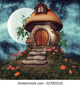Colorful fairytale mushroom cottage with flowers and ivy at night. 3D illustration.