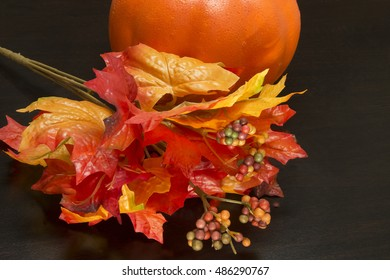 Colorful Fall Decoration/Autumn Leaves and Pumpkin/Red,yellow,orange squash and foliage