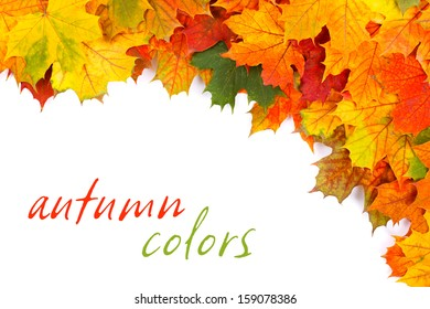 Colorful fall leaves border with place for your text on white