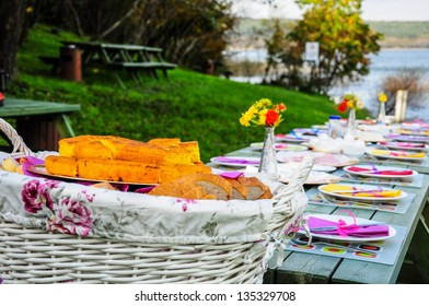 colorful and fancy picnic table