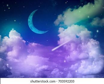 Colorful fantasy night sky with cloud and moon, abstract science background