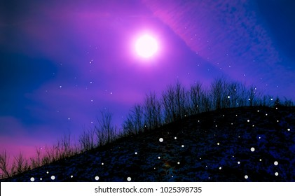 Colorful fantasy sky-Sun, moon and stars-Digital photography art-Combining photography and art.