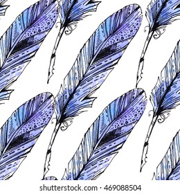 Colorful feathers on a white background. Seamless texture. Watercolor illustration. Vintage pen for writing.