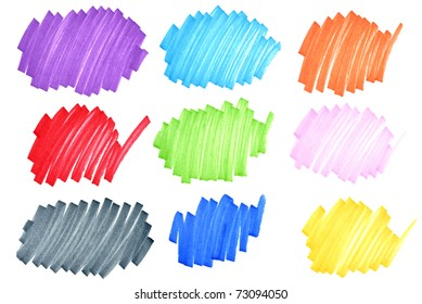 Colorful felt tip ink markers scribbles macro with paper fiber details visible.