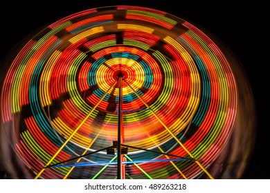 Colorful Ferris Wheel at Night