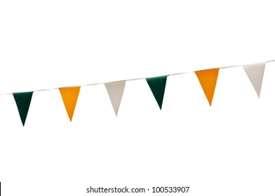 colorful festive green, yellow and white bunting flags (isolated on white background)