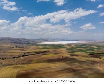 Colorful fields near tuzla saline lake,central anatolia,turkey