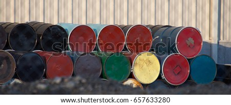Colorful fifty gallon metal