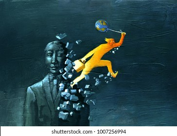 a colorful figure escapes from inside a statue shattering it, holding a colored balloon in his hand like a globe