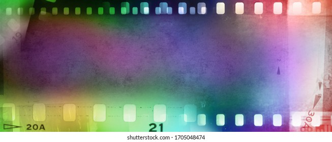 Colorful film negative frames background