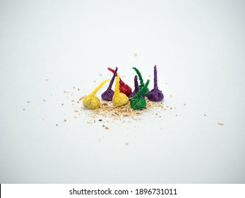 Colorful Firecrackers Throw Garlic-like Thai firecrackers onto a white background.Fireworks sound from throwing like garlic. Available in Thailand, very popular with children.