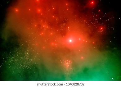 Colorful firework with bokeh background. Abstract holiday background.