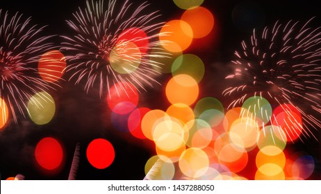 colorful of firework display and bokeh for festival, event, party, new year concept background