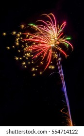 Colorful firework explosion in sky