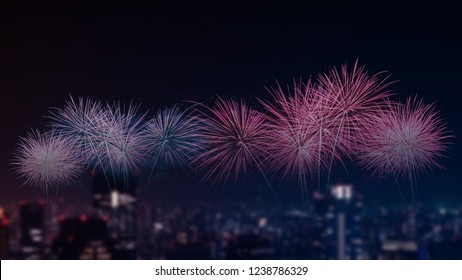 colorful firework at night view city for celebration and anniversary concept background