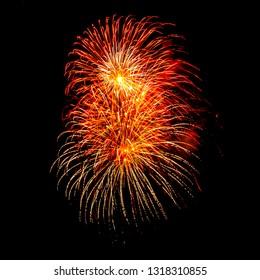 Colorful firework on black background.