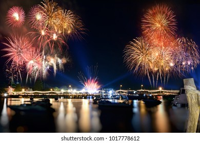 The colorful firework Thailand .