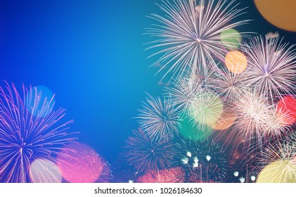colorful firework in vintage color style for background