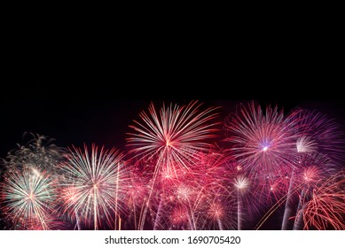 Colorful of fireworks for 4th July national holiday festival,independence day concept