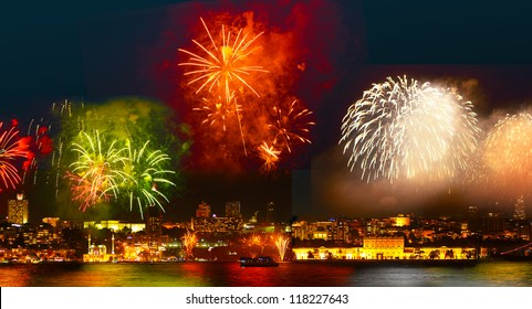 Colorful fireworks all over the Istanbul sky. View of Besiktas, Dolmabahce Palace