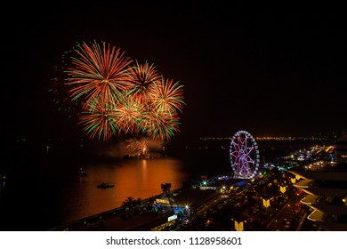 colorful fireworks at the bay