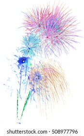 colorful fireworks -  beautiful colorful firework isolated display for celebration happy new year and merry christmas on white isolated background